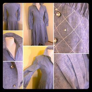 🦋50s Rockabilly Cotton Blue Jean Rhinestone Dress